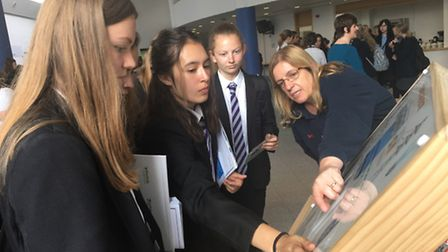Thetford Academy students with Sizewell B visitor centre co-ordinator Sarah Osborne at the National