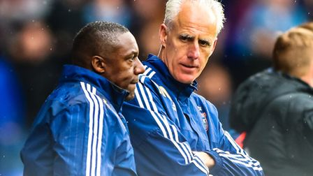 Ipswich Town manager Mick McCarthy and assistant Terry Connor. Picture: Steve Waller www.ste