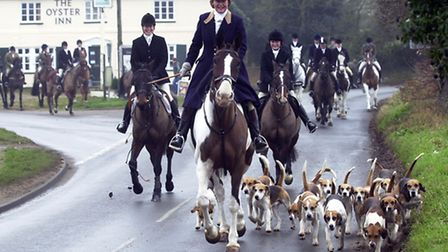 Huntsman Lydia Harvey with the only woman hunting hounds in the U.K.as members of the Easton Harrier