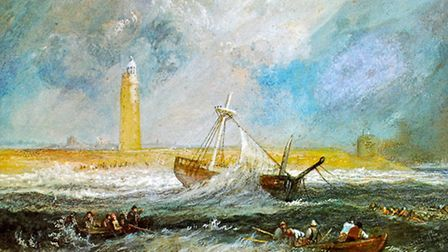 Turner's watercolour painting off Orfordness, dating from around 1827.