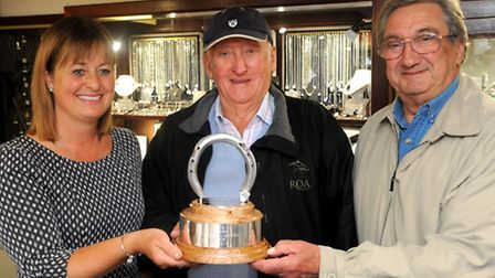 The trophy made by Sarah Cole (left) in Framlingham for the best shod horse at the Grand National na