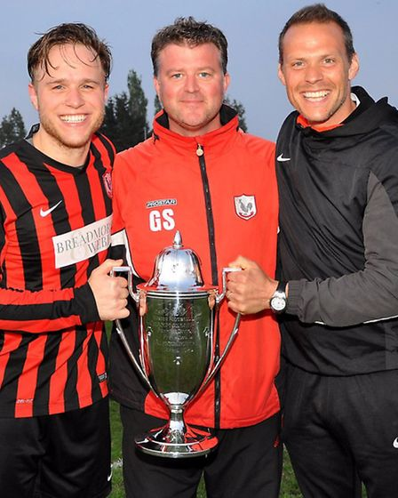 Olly Murs, Coggeshall Town FC manager Graeme Smith and assistant John Pollard. Photo: Paul Hammond