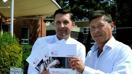 Alex Till, chief executive of Menta, left, with John Baxter, managing director of eAlliance Learning