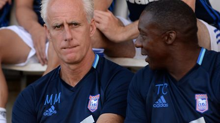 Ipswich manager Mick McCarthy with Terry Connor at Colchester last night