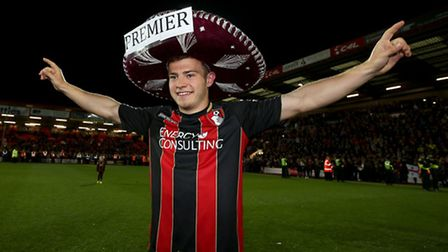 Ryan Fraser celebrates promotion with Bournemouth in 2015