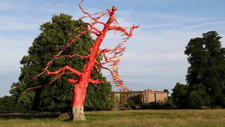 The oak at Glemham Hall has been dressed to mark the countdown to FolkEast. Credit: John Heald.