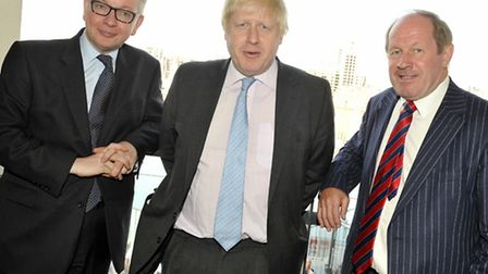 Michael Gove and Boris Johnson join Tim Passmore during a visit to Ipswich for the leave campaign.