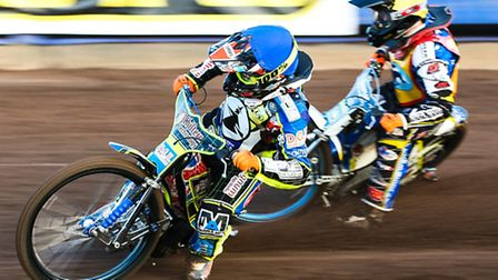 Danyon Hume leading Ellis Perks during heat two of the Ipswich v Plymouth (Premier league) meeting a