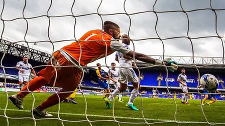 Daryl Murphy heads town in front during the Ipswich Town v Royale Union Saint-Gilloise (Pre-season f