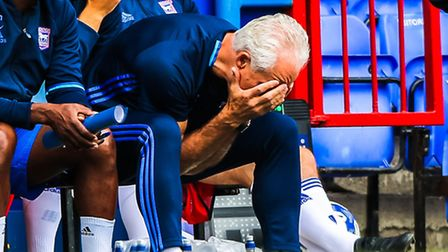 Town manager Mick McCarthy can't hide his frustration during the Ipswich Town v Royale Union Saint-G