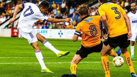 Andre Dozzell scores Town's goal in the Cambridge United v Ipswich Town pre-season friendly match a
