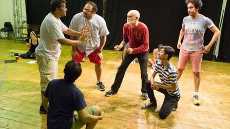 The Mechanicals in rehearsals for A Midsummer Night's Dream at the New Wolsey Theatre