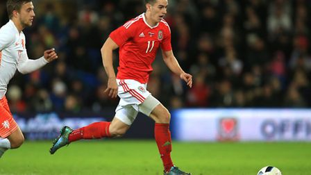 Tom Lawrence in action for Wales.