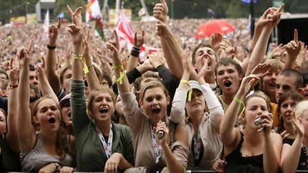 The crowd watching The Fratellis performing on the V Stage at the V Festival at Hylands Park in Chel