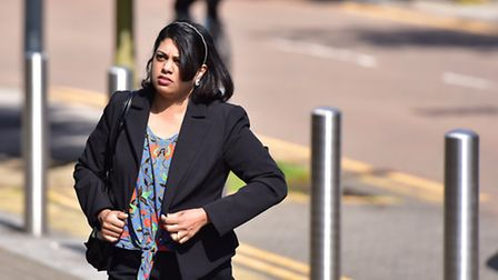 Honey Rose arriving at Ipswich Crown Court during her trial