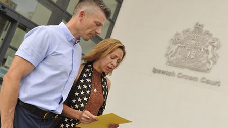 Ian Barker supports his wife Joanne Barker as she read out a statement after the guilty verdict was