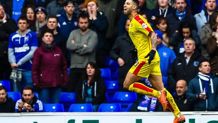 Leon Best celebrates after scoring for Rotherham United in the Ipswich Town v Rotherham United (Cham