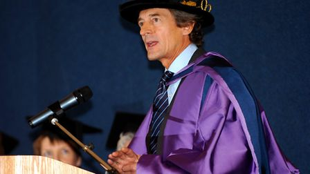Actor Nigel Havers accepting his Honorary Doctrate of Civil Law from the University of East Anglia a