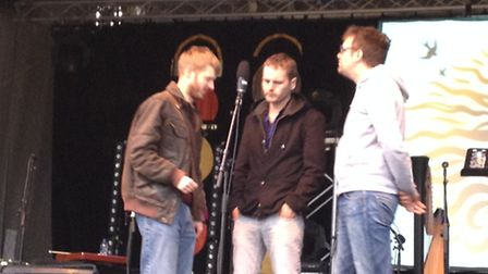 David Eagle, Sean Cooney and Michael Hughes of the Young'uns at FolkEast.