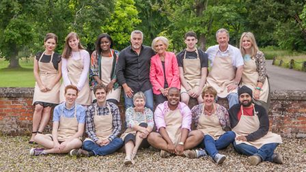 The Great British Bake Off is back. (L-R) Back row: Candice, Kate, Benjamina, Paul Hollywood, Ma