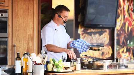 Celebrity chef James Tanner demonstrates his culinary skills at the Bury St Edmunds Food & Drink Fes
