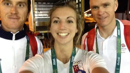 Katy Sealy at the Olympic Village with GB cyclists Geraint Thomas and Chris Froome.