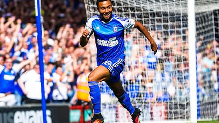 Grant Ward celebrates after putting Ipswich 1-0 up within seconds of coming on during the Ipswich To