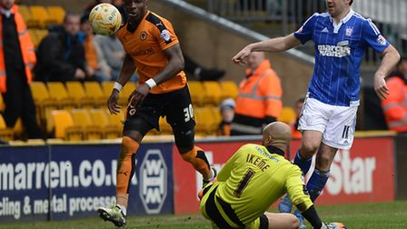 Brett Pitman lifts the ball over Wolves keeper Carl Ikeme during April's 0-0 draw at Molineux