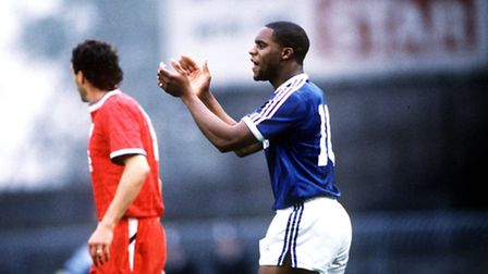 Dalian Atkinson playing for ITFC in October 1988 (Photo by Bob Thomas/Getty Images)
