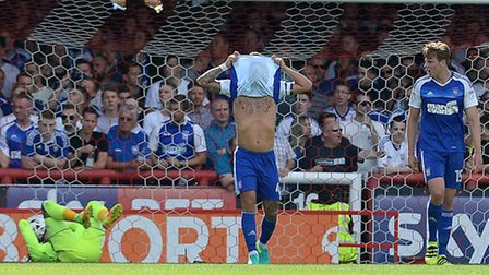 Luke Chambers is not happy as Ipswich go two goals behind at Brentford. Photo: PAGEPIX LTD