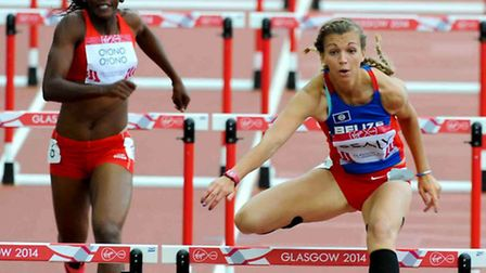 Katy Sealy in hudles action at the Commonwealth Games