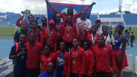 Katy Sealy with the Belize athletics team at the Central American Championships in El Salavor