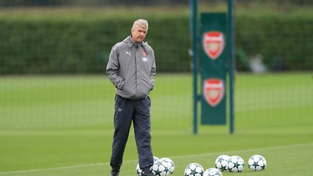 Arsenal manager Arsene Wenger during a training session at London Colney, London. Photo: Adam Davy/P