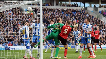 Ipswich's Tommy Smith gives his team the lead against Brighton at The Amex. File photo