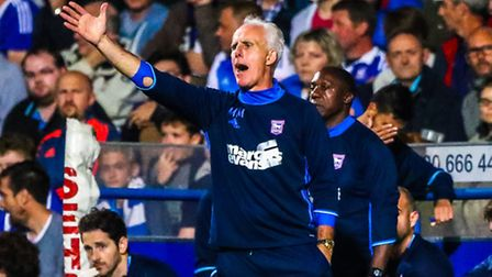 Town manager Mick McCarthy gives instruction from the touchline during the second half of the Ipswic