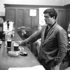 At the bar in The Engineers Arms pub, Leiston, 1966