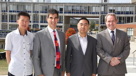 From left, Sun Lihua, director of Chinese-based company Wow Face, Professor Anthony Forster, Univers