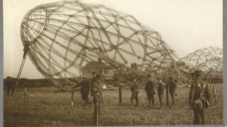 The skeleton of a Zeppelin that force-landed in Little Wigborough.