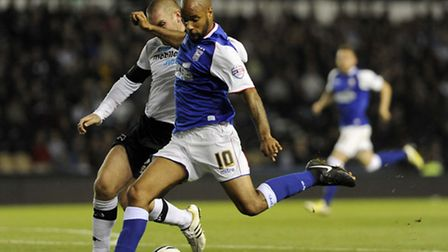 David McGoldrick with a first half chance at Derby