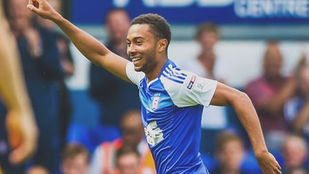 Grant Ward celebrates after putting the home side 1-0 ahead in the Ipswich Town v Preston North End