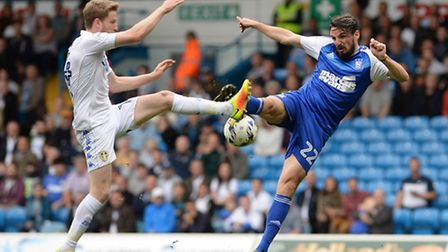 Jonathan Douglas miss-times a volley on the edge of the Leeds penalty area