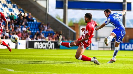 Drey Wright fires Colchester United into an early lead in today's 2-1 home defeat to Accrington Stan