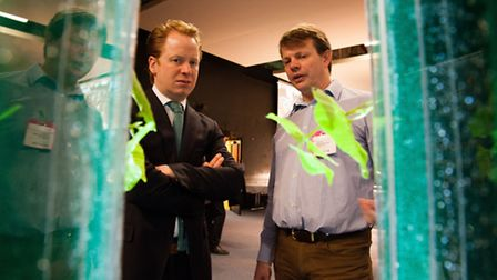 Jason Hawkins-Row from Aponic (right) talks to Ipswich MP Ben Gummer at the iExpo Show