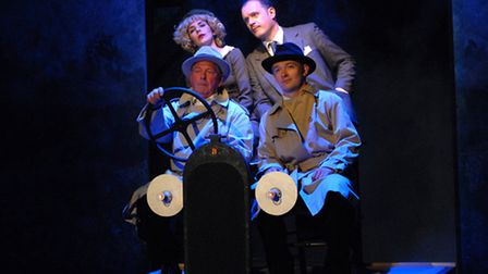 The Cast of The 39 Steps embroiled in the midst of an international intrigue. Suffolk Summer Theatre
