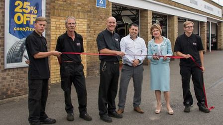 The Mayor of St Edmundsbury, Julia Wakelam, cutting the ribbon to mark the official reopening of STS