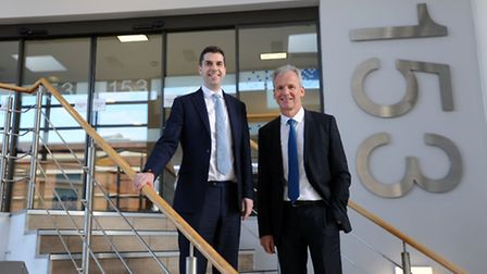 Rupert Curtis, chief executive of Curtis Banks, with Will Self, managing director of Suffolk Life.
