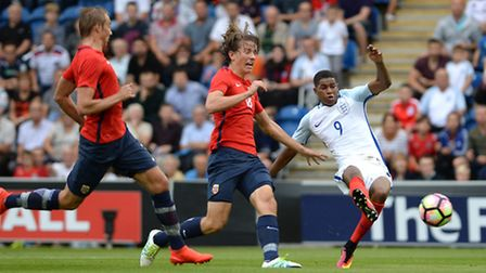 Marcus Rashford opens the scoring for England U21's against Norway at Colchester's ground tonight