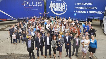 Anglia Freight employees and families at the cross dock opening.