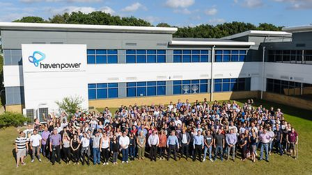 Staff at Haven Power's offices at The Havens, on Ransomes Europark in Ipswich, celebrating the compa