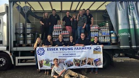 Essex Young Farmers running the bar at Barleylands Show 2015.